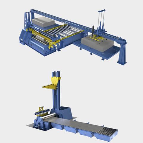 Faccin: cilindradora con accesorios como la tabla de alimentación, soporte superior, soporte lateral, sistemas de carga y descarga, centrador automático y expulsor