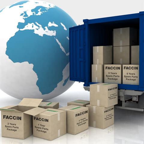 Faccin: entrega en todo el mundo de paquetes con repuestos y piezas