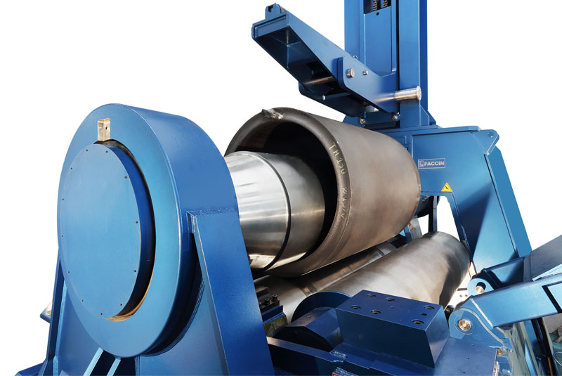 Faccin: blue plate bending roll with a perfect sheet metal can