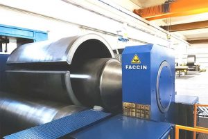 Faccin: blue plate bending machine with a perfect rolled can