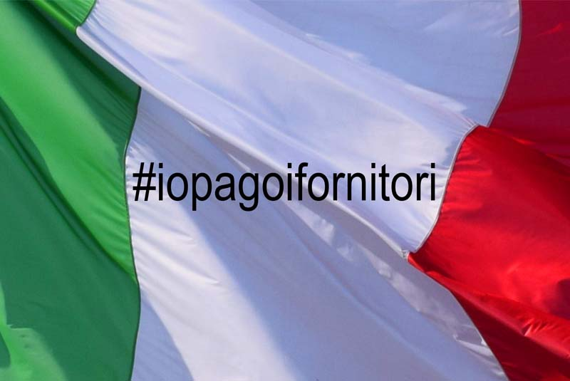 Faccin: Italian flag with campaign I pay the suppliers