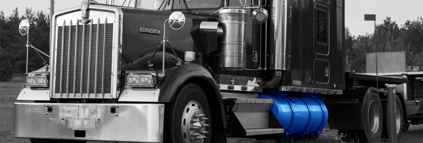 Faccin: white & black truck image with a blue fuel oil tank