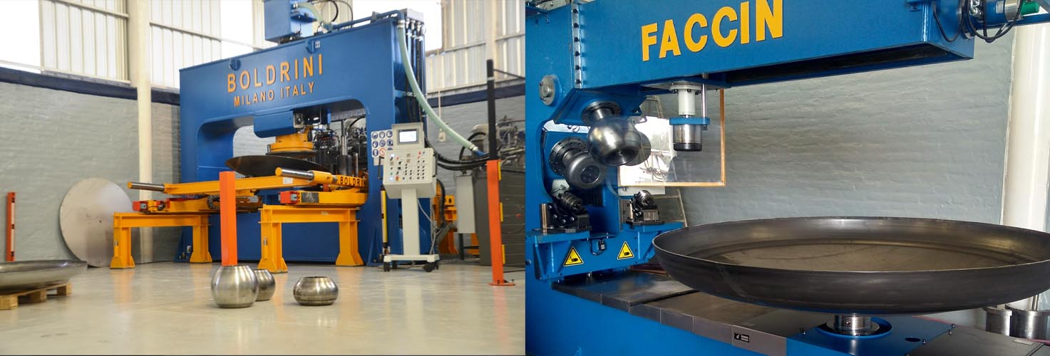 Faccin-Boldrini: hydraulic press with a metal palted rolled and flanging blue machine