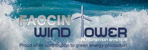 Faccin: Logo Wind Tower division with sea background